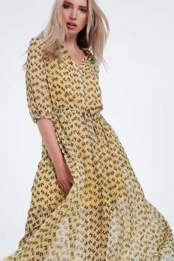Vestido longo amarelo de manga comprida floral
