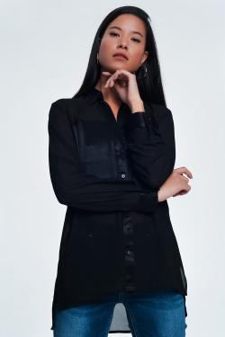 Camisa de cetim manga comprida preta