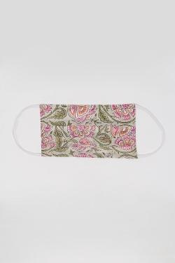 5 PACK Máscara de algodão orgânico rosa e verde com estampa de flores