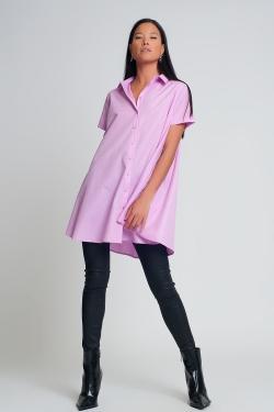 Camisa de popeline de mangas curtas oversized em púrpura