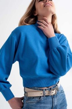 Camisola curta com pescoço de funil azul